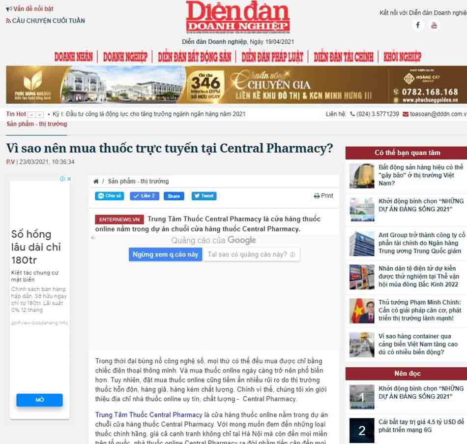 Vì sao nên mua thuốc trực tuyến tại Central Pharmacy?