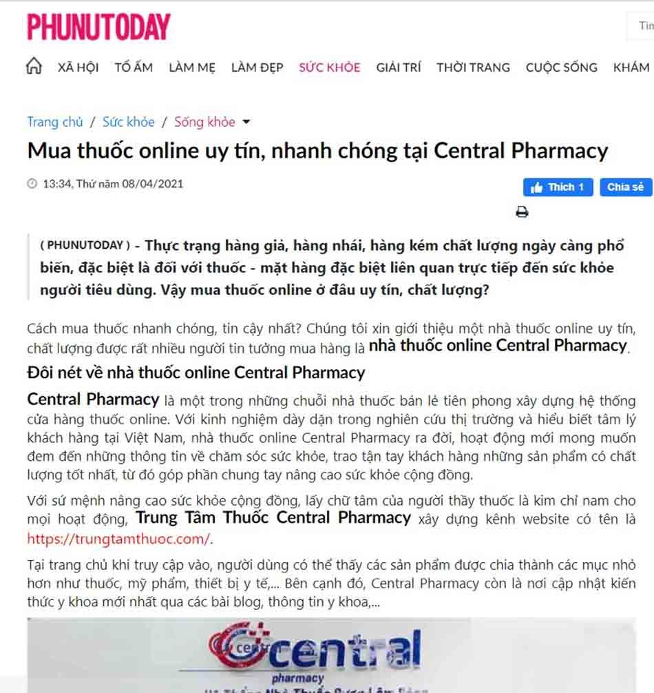 Báo PHUNUTODAY đưa tin về nhà thuốc trực tuyến Central Pharmacy
