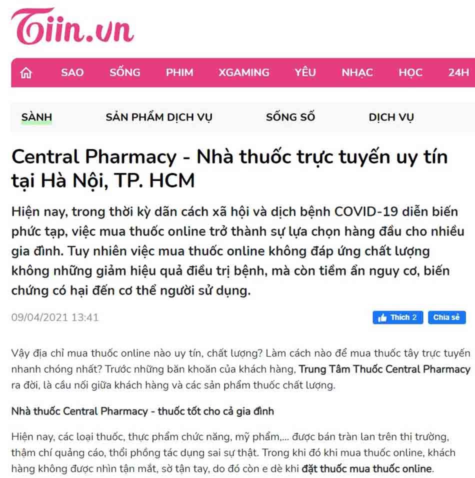 Central Pharmacy - Nhà thuốc trực tuyến uy tín tại Hà Nội, TP. HCM