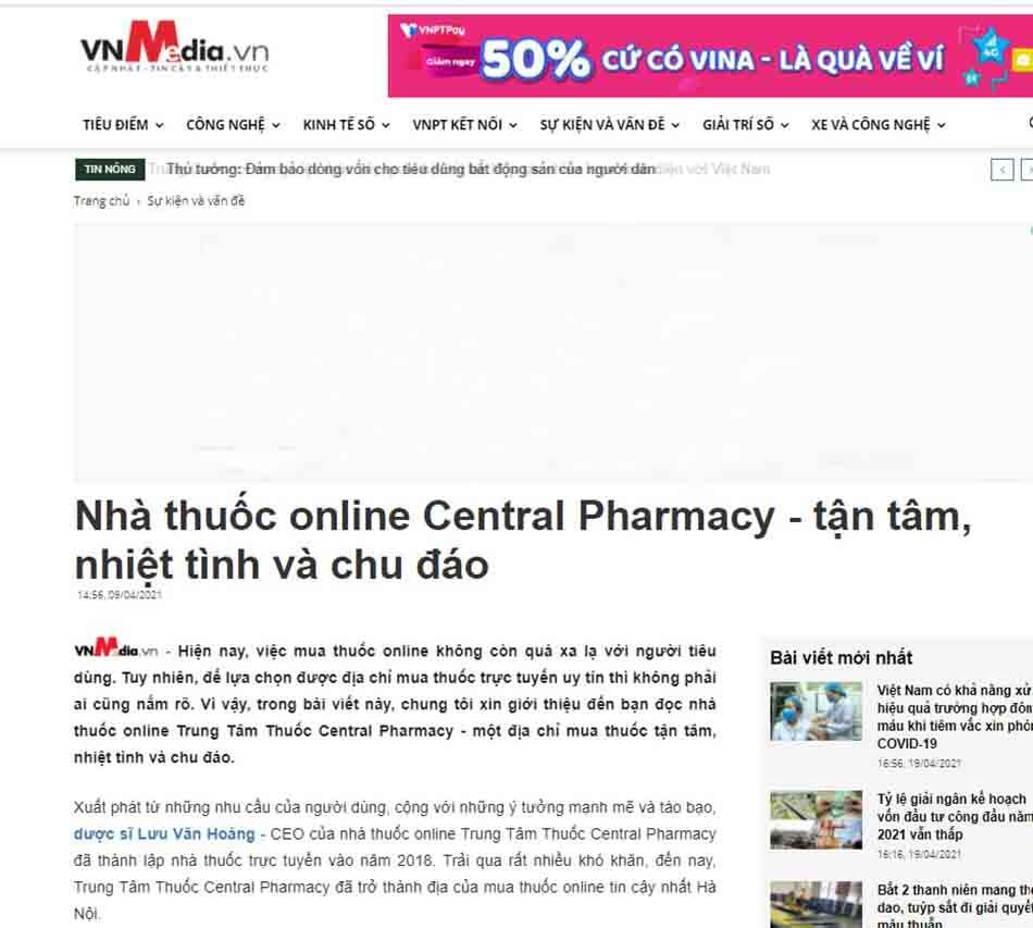 Nhà thuốc online Central Pharmacy - tận tâm, nhiệt tình và chu đáo