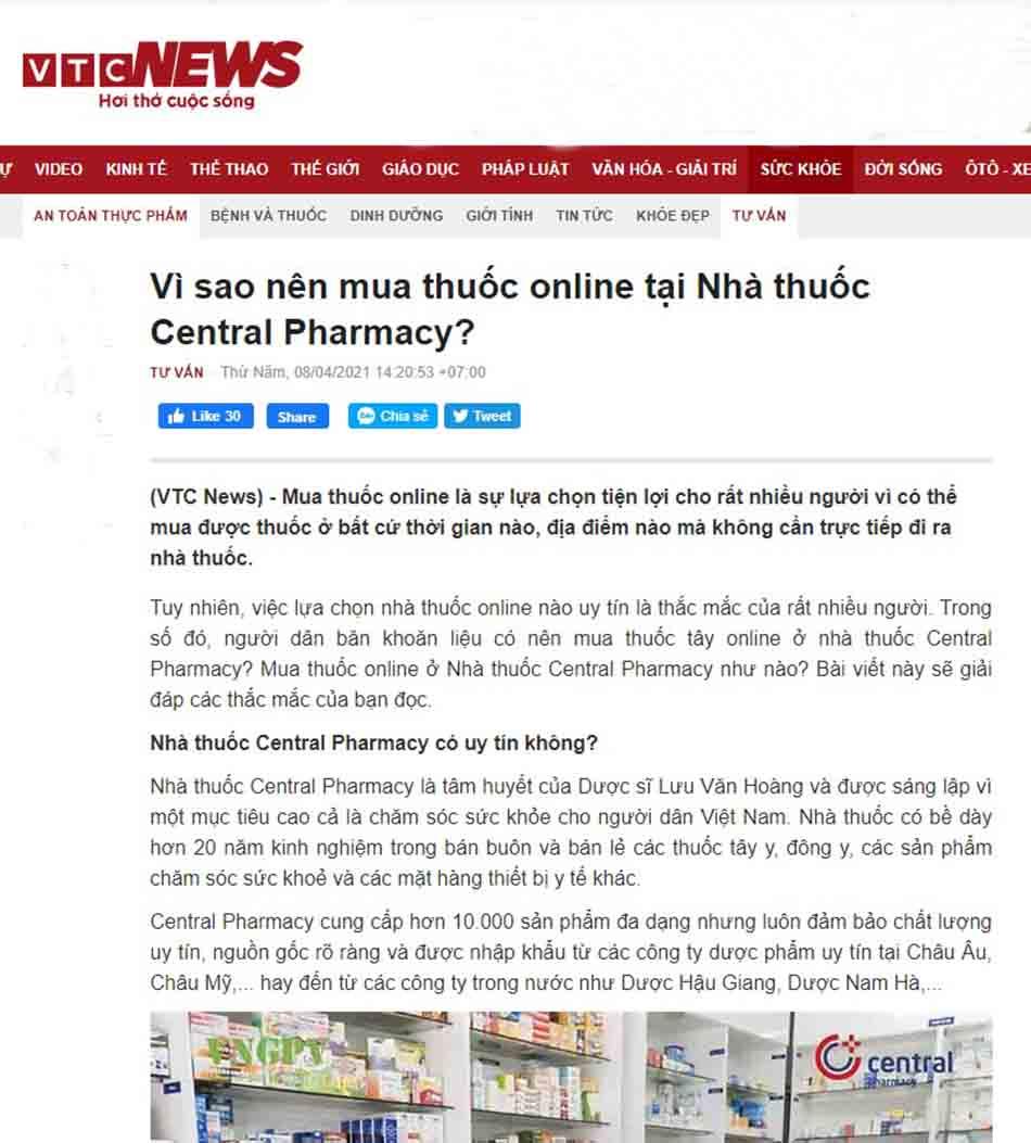 Central Pharmacy - nhà thuốc online uy tín tại Hà Nội