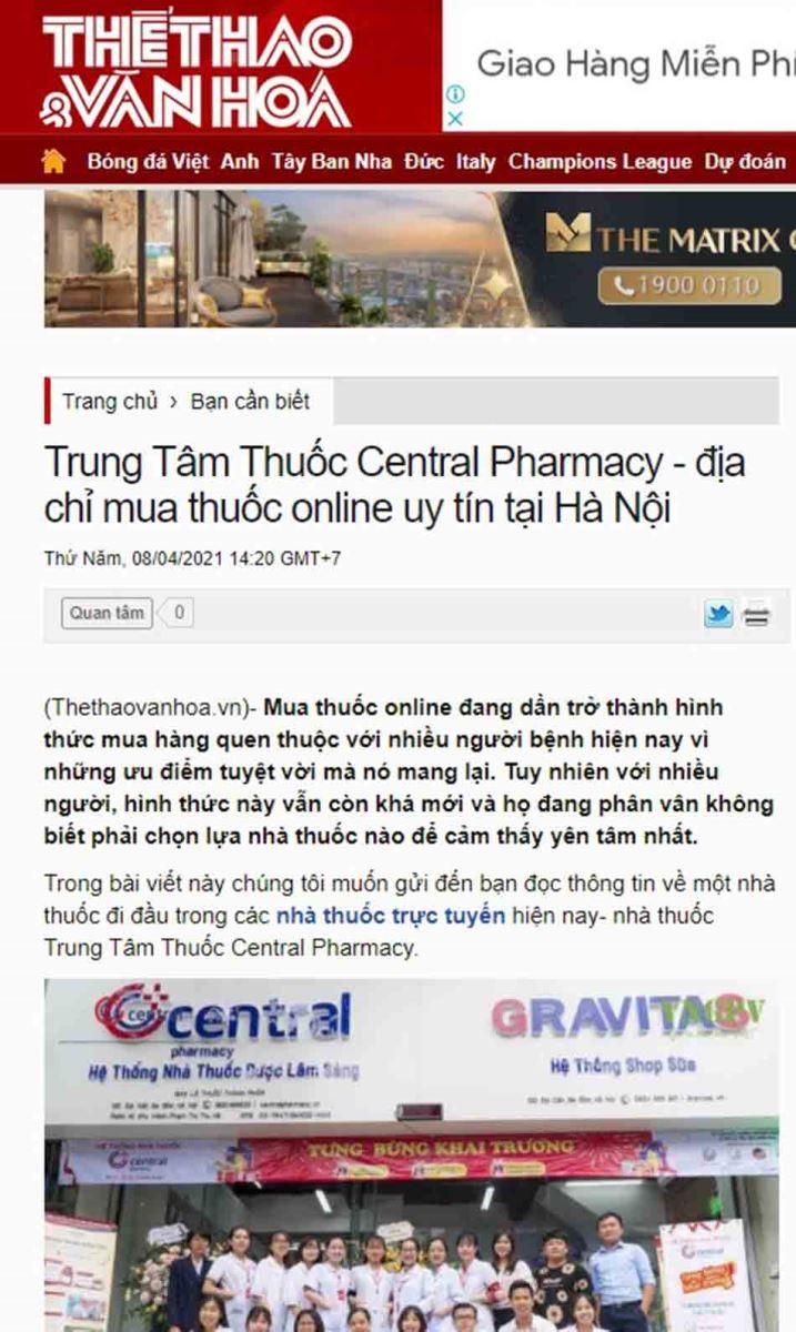 Trung Tâm Thuốc Central Pharmacy - địa chỉ mua thuốc online uy tín tại Hà Nội