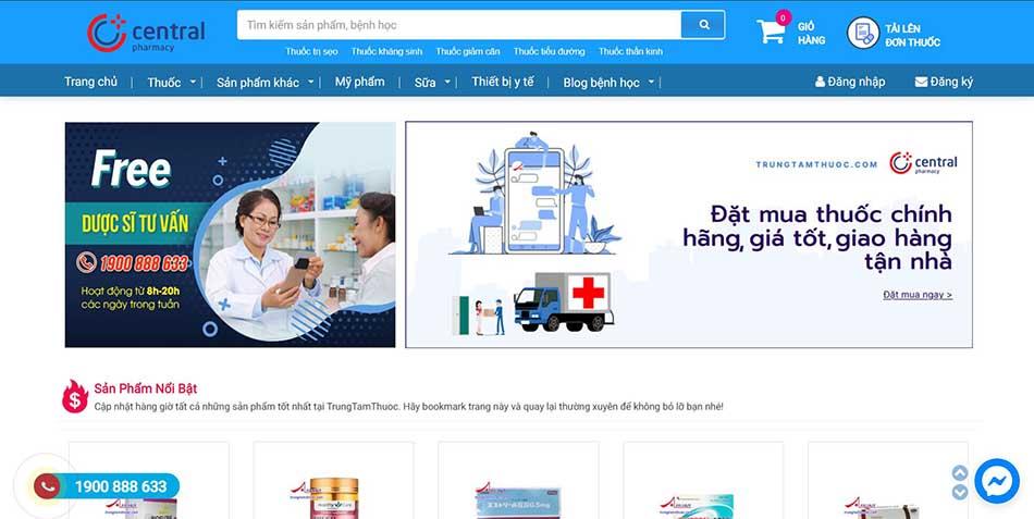 Ảnh minh hoạ trang web Trung tâm Thuốc Central Pharmacy